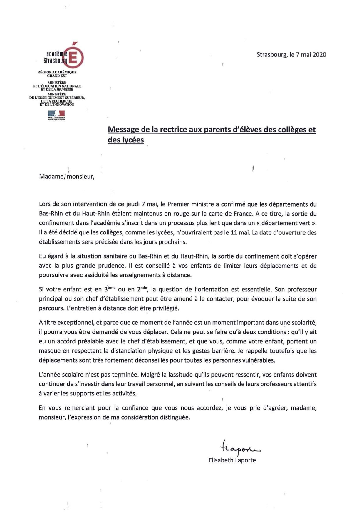Courrier Rectrice 7 mai 2020